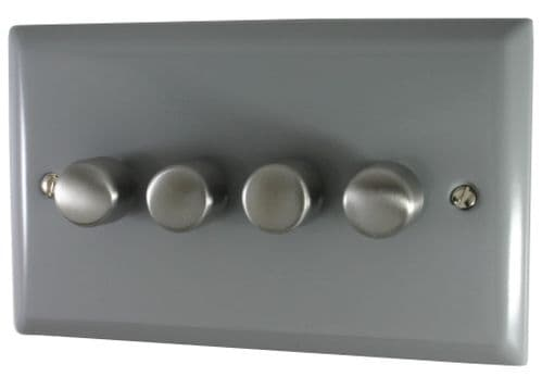 G&H SLG14 Spectrum Plate Light Grey 4 Gang 1 or 2 Way 40-400W Dimmer Switch